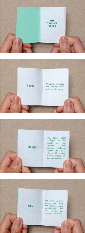 JP King, Materialists Anonymous (Selected pages), Risograph print, booklet, 2013.