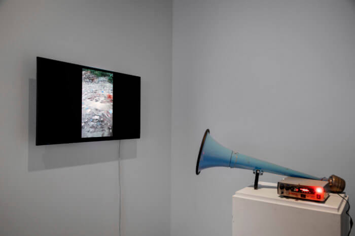 installation which depicts a tv showing a picture of some terrain, and a blue horn sitting on a plinth turned towards the TV