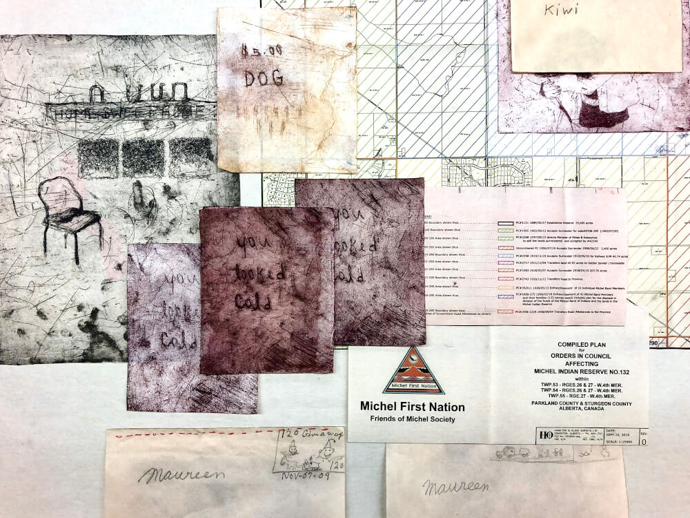 A collage of many different papers and prints, some official documents and some etchings by Kiona Ligtvoet, in dark reds, off whites, light greens