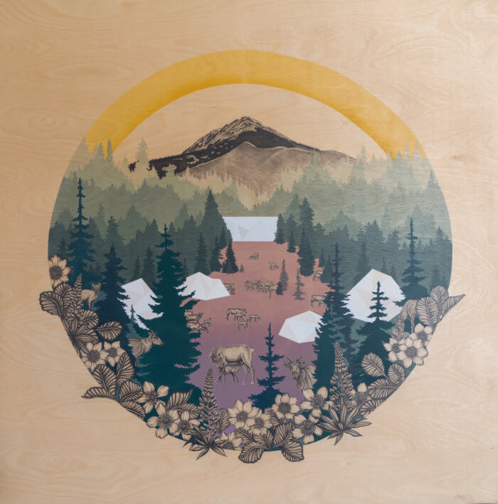 a screen printed landscape showing camping tents in a forest in with a mountain and lake in the background. The image sits within in a circular frame drawing.