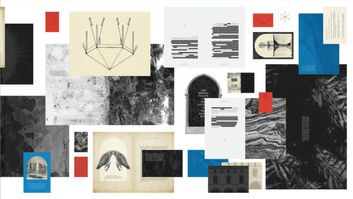 a collage of prints, book pages, greyscale textures, blue and red boxes.
