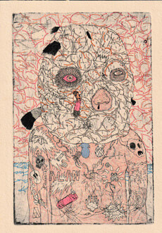 Ryan Cain, untitled etching with hand-colouring